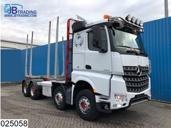 Transporte de madeira Mercedes-Benz Arocs 3563 8x4, EURO 6, Steel suspension, 13 Tons axles, Airco, Hydrauliek, Hub reduction, Wood / Tree transport